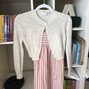 Other - Beige cardigan Cute with Stripe Dress